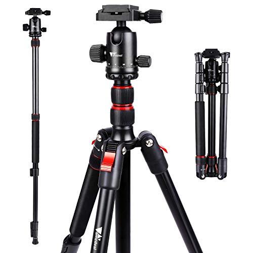 Treppiede per Fotocamera - Amzdeal Treppiede in Alluminio con Testa a Sfera a 360°, Dimensione Pieghevole 41 cm, Monopiede 164 cm, Treppiede Stabile per Fotocamere Canon Sony Nikon Samsung DSLR