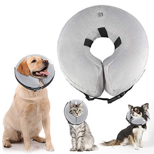 ATLES Inflatable Dog Collars After Surgery, Protective Pet Collar for Recovery for Dogs and Cats, Soft Dog Cones (M)