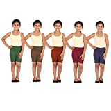 Gold Jasmine Girls Cycling Shorts (Pack of 5) (MSF--6-8 Years_Blue_6-8 Years)