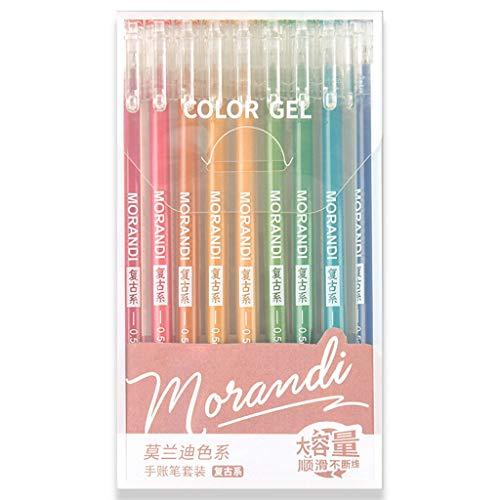 VIccoo Pluma de Gel 9Pieces Morandi Grey Multi Color Gel Ink Bolígrafos Vintage Marker Liner 0.5mm Bolígrafo - B