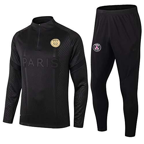 Paris Black Camiseta de Manga Larga Ropa de fútbol Primavera y otoño Apariencia Adultos Sudaderas Trajes de Entrenamiento, S