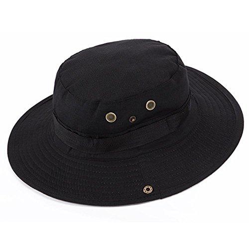 Bluelover Aotu Camouflage Casquette Chapeau Chapeau De Pêche Randonnée Camping Escalade Casquette Bonnie Hat - Noir