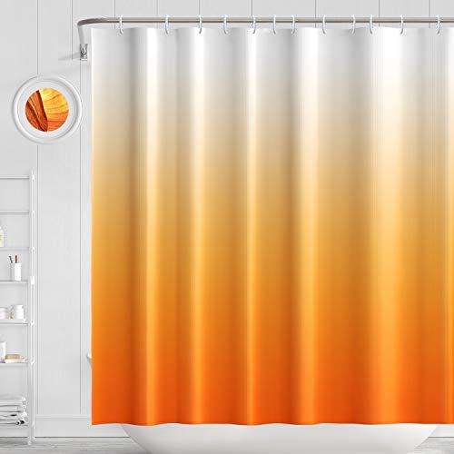 Mshine Duschvorhang aus Polyester 180 x 180 cm Wasserdicht Anti-Schimmel Anti-Bakteriell Orange Farbverlauf Badewanne Vorhang mit 12 Duschvorhangringen für Dusche (Orange)