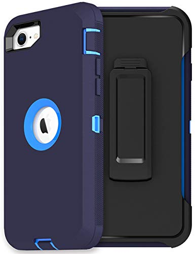 MXX iPhone SE 2020 Heavy Duty Protective Case with Screen Protector [3 Layers] Rugged Rubber Shockproof Protection Cover & Rotating 360 Degree Belt Clip for Apple iPhone SE 2020 (Blue)