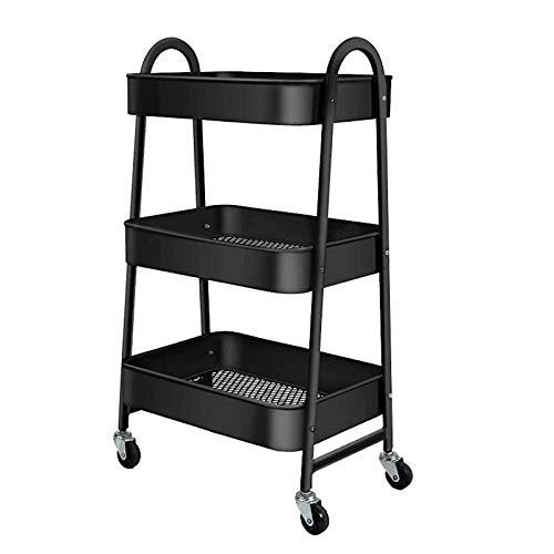 Estantería de metal Carro de almacenamiento Carro extraíble de 3 niveles con ruedas Organizador de almacenamiento Estante con 3 cestas de almacenamiento y ruedas para cocina, sala de estar, baño, dorm