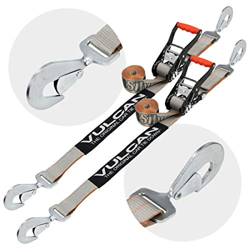 VULCAN Snap Hook Auto Tie Down with Twisted Snap Hook Ratchet - 2 Inch, 2 Pack - Silver Series - 3,300 Pound Safe Working Load