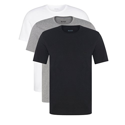 Hugo Boss - Lot de 3 T-shirts à col rond, couleur noir - multicolore - Large