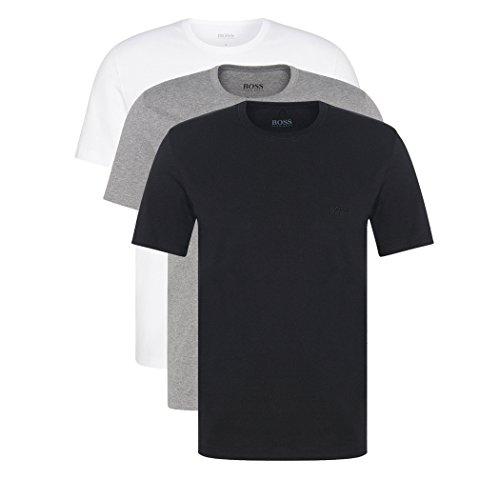 Hugo Boss 3er Pack O Neck S 999 Rundhals Ausschnitt T Shirts weiss graumeliert, Farbmix Weiss, Grau, Schwarz, S(4)48