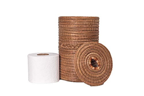 JOSE ARTESANO Pine Needle (Ocoxal) Toilet Paper Holder Stand, 6.3 in X 9.8 in, 100% Sustainable, Natural, Rustic, Organic and Vegan