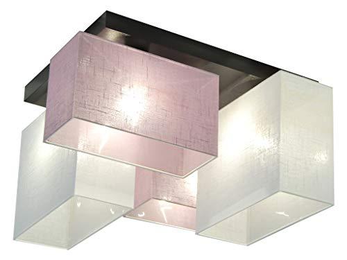 Deckenlampe - HausLeuchten JLS44LIWED - 4 Varianten, Deckenleuchte, Leuchte, Lampe, 4-flammig, Massivholz (LILA/WEIß)