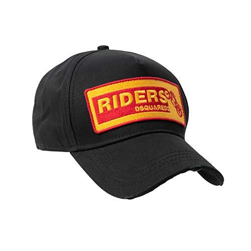 DSQUARED2 D2 - Gorra de béisbol, diseño de Riders, color negro