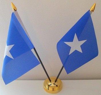 2 Flagge Somalia Somalian Desktop Table Bildschirm mit goldfarbenem Sockel