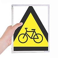 警告シンボルイエローブラック自転車・トライアングル 硬質プラスチックルーズリーフノートノート