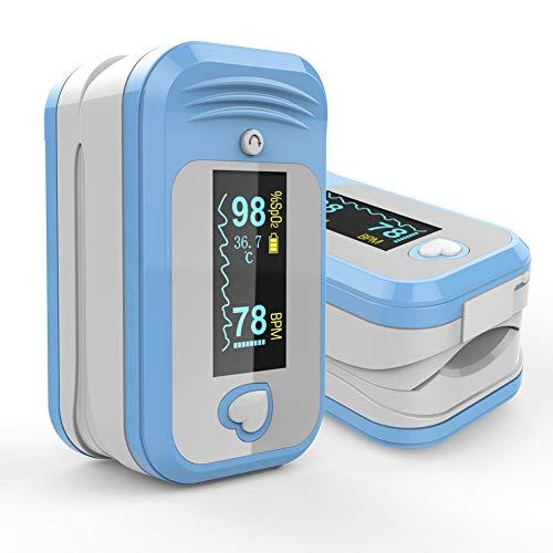 MED LINKET Oxímetro de Pulso con sonda de Temperatura, Fingertip SpO2 PRPreciso medidor de Alarma OLED Pantallas para Deportes Diarios Fitness