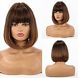 HAIRCUBE Pelucas cortas de color marrón natural para mujer Pelucas de color marrón claro con flequillo de uso diario…