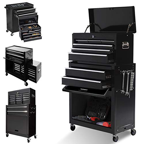 8-Drawer Large capacity Tool chest,Rolling Tool Chest and Tool box with 4 Wheels,Tool Storage Cabinet Removable Portable Box with Lock for Garage and Warehouse (Cool Black)
