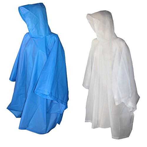 Totes Raines Children's Rain Poncho 2 Pack (Clear/Royal Blue)