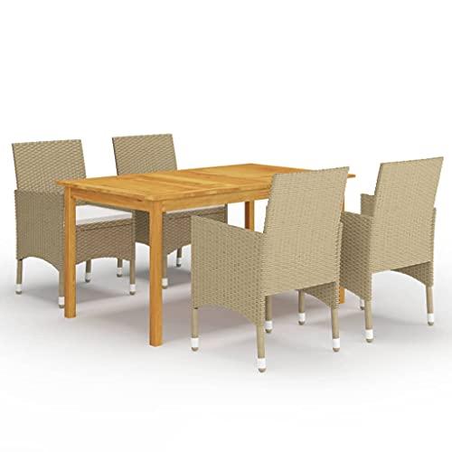 vidaXL Juego de Comedor para Jardín de 5 Piezas Muebles Mobiliario Exterior Terraza Balcón Hogar Cocina Mesa Silla Asiento Suave Estable Beige