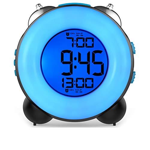 Banne Bon Reloj despertador fuerte para personas que duermen pesadas con alarma opcional con función de alarma dual función de repetición de repetición, luz nocturna, reloj alimentado con pilas