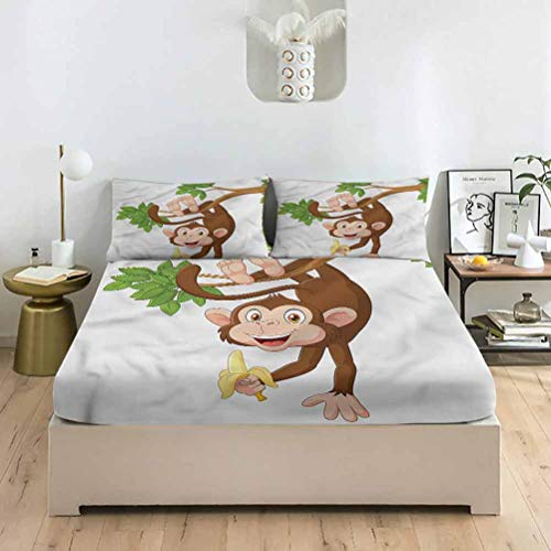 LCGGDB Cartoon Twin XL Size Bed Fitted Sheet Set,Mexican Man on a Donkey Deep Pockets Fitted Sheet with 2 Pillowcase,Print Fitted Sheet Set for Boys & Girls Bedding