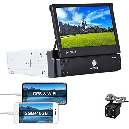 Android 1 Din Radio de Coche GPS 2G+16G CAMECHO 7 pulgadas hacia afuera Pantalla tactil capacitiva Bluetooth FM Radio WiFi Navegación Enlace espejo para teléfono Android iOS + Cámara de visión trasera