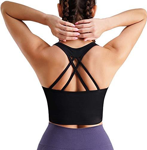 Chumian Sport-BH für Damen, ohne Bügel, gepolstert, Push-Up-BH, Übergröße, Schwarz S