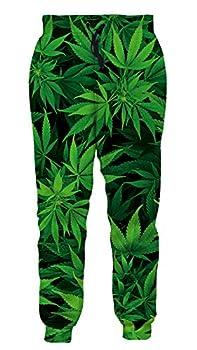 Men Women 3D Green Weed Hemp Leaf Jogger Pants Casual Sweatpants Cool Graphric Gym Lounge Sports Jogging Pants S