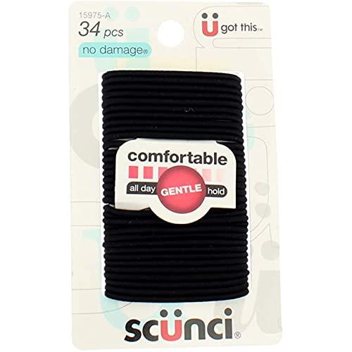 Scunci Effortless Beauty Small No-damage Elastics, Black, 2mm, 102-Count