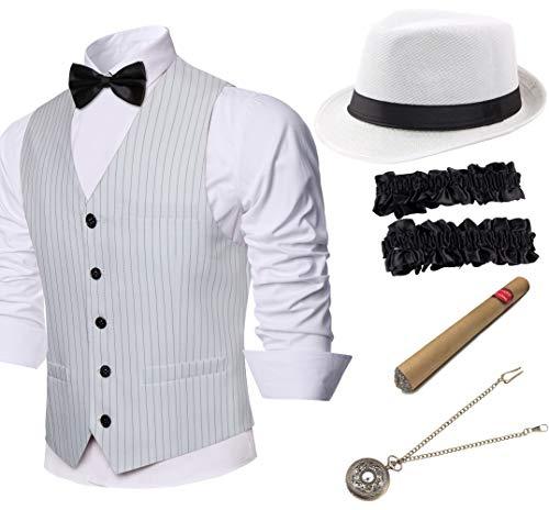 Coucoland Conjunto de disfraz de mafia gatsby de los años 20, incluye gorro de panamá para hombre, chaleco clásico para hombre preatado, brazaletes, reloj de bolsillo y cigarro de juguete