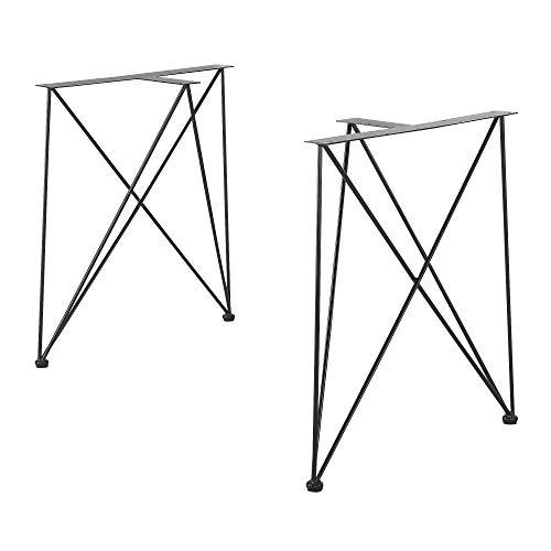[en.casa] 2X Tischgestell 62x22x72cm Schwarz Stahl DIY Esstisch Hairpin Leg