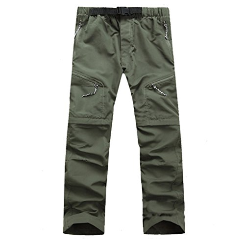 CIKRILAN Hommes Séchage Rapide Wicking Amovible Trousers Zip Off Jambe Pantalon Outdoor Pêche Randonnée Camping Casual Pantalon (L, Vert)