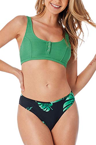 CUPSHE Women's Bikini Swimsuit Green Leaf Print Button Low Waist Triangle Two Piece Bathing Suit, S