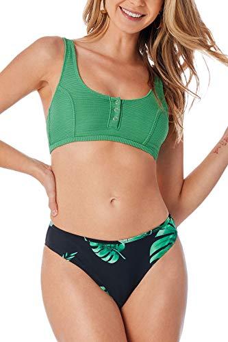 CUPSHE Conjunto de Bikini para Mujer Verde Estampado Hojas Botón Cintura Baja Triangular Traje de Baño de Dos Piezas, S