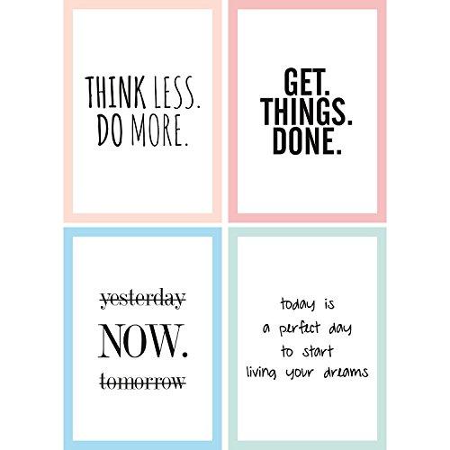 Cupcakes & Kisses® 4er Motivation Poster Sparset I motivierende Zitate & Sprüche I Hochformat I DIN A4 I Quote I in schwarz und weiß mit Buntem Rahmen