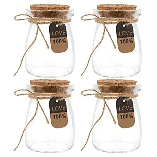 XXXXW Botes para Alimentos 10 unids 100 ml Botellas de Vidrio de Leche Resistente al Calor con Tapa de Madera Botellas de Yogur Almacenamiento de Alimentos Tarro para la Cocina Botes Herméticos