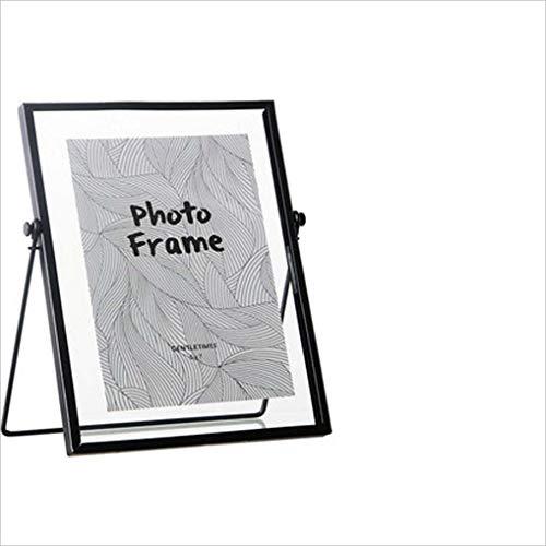 DDHZTA Creatieve eenvoudige zwarte metalen glas fotolijst frame beugel desktop geometrische ornamenten