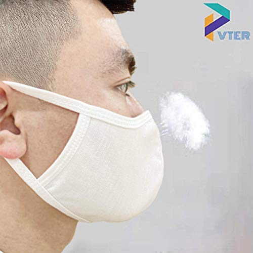 VTER Cotton Face Breathing Mask - Pack of 5 - Comfortable Washable Cotton Mask (White)