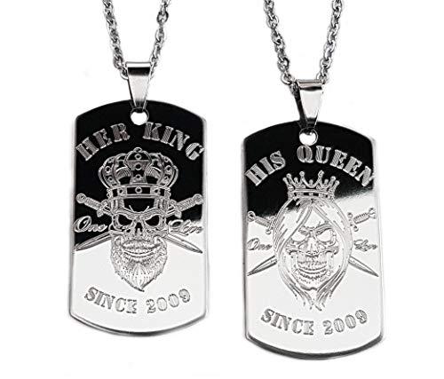 Real Bullet Design Dog Tag Set Her King His Queen Partner Halsketten Edelstahl Punk Rock Skull + GRATIS Wunsch Jahres Gravur & persönliche Textgravur