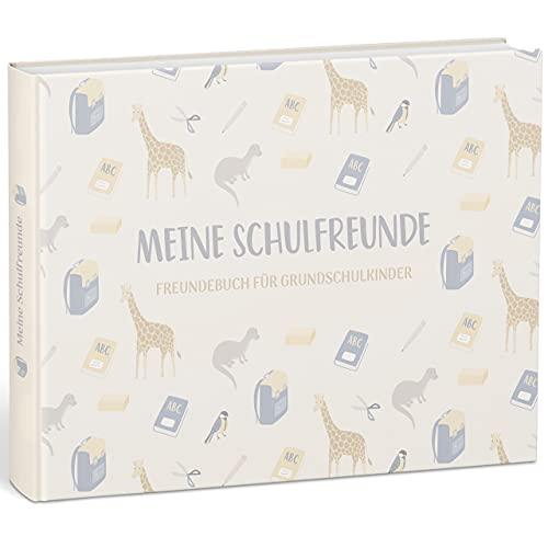 """mintkind® """"Meine Schulfreunde"""" Freundebuch für Mädchen und Jungen – Freundschaftsbuch für die Grundschule   Geschenk zur Einschulung   Schulfreundebuch zum Ausfüllen im Tier Design (Natur)"""