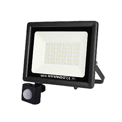 Faretto LED da Esterno con Sensore di Movimento 50W Bianca Fredda 6000K Faro Esterni IP65 Impermeabile er Parcheggio, Ingresso, Corridoio, Garage.