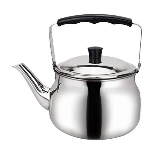 Fenteer Whistling Bouilloire En Acier Inoxydable Cuisinière Théière, métal Thé Pot Gaz/Induction/Électrique/Gaz/Cuisinière Bouilloires pour Cuisine Camping - 0.8L