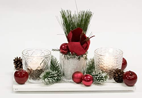 Adventsgesteck Nr.65 Holztablett mit Windlichtern und Amarillis Winterdeko Weihnachtsgesteck, Wintergesteck, Advent Adventskranz