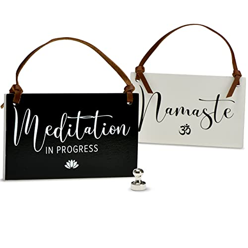 PYROH Meditation Sign for Door Hanger or Hang by Magnet - Two Sided - Meditation in Progress - Namaste with Om Symbol Icon - Meditation Decor, Meditation Decor for Room, Do Not Disturb Sign