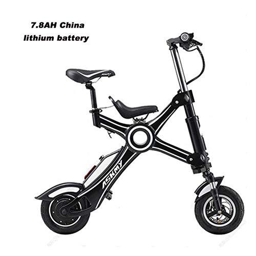 Suyanouz 10 Pollici in Lega di Alluminio Pieghevole Bicicletta Elettrica Senza Catena Bici Elettrica Pieghevole Leggero E Veloce Ebike con Figlio Sedile, 7.8Ah Due Posti, Un