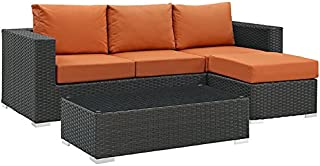 Modway EEI-1889-CHC-TUS-SET Sojourn Wicker Rattan Outdoor Patio Coffee Table, Seating for Three, Canvas Tuscan