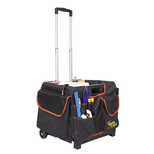 dbest products Quik Cart Pockets Bundle Caddy Organizer Teacher Tote Rolling Crate Mobile Tool Storage Fabric Cover Bag, Black