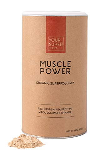 Your Super Muscle Power Superfood Mix - Plant Based Protein Powder, Workout Boost with All 9 Essential Amino-Acids, Whey Alternative, Non-GMO, Organic Maca, Lucuma - 400g