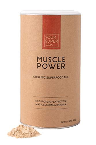 Your Superfoods Muscle Power Superfood-Mix - Workout-Boost mit allen 9 essentiellen Aminosäuren, Molke Alternative, Non-GMO, Bio-Maca, Lucuma - 400g, 26 Portionen