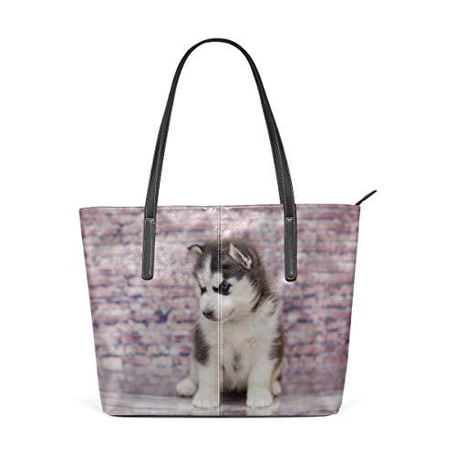 BAODANLA Borse a spalla da donna Laptop Tote Bag Small Cute Siberian Husky Outdoors Large Printed Shoulder Bags Handbag Pu Leather Top Handle Satchel Purse Lightweight Work Tote Bag For Women Girls