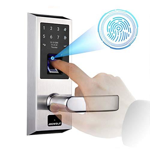 Ardwolf A50 Keyless Entry Door Lock with Right-Handle, Auto-Lock Smart Biometic Fingerprint Front Door-Locks with Keys Key-pad for Homes Garage Bedroom Security, 304 Stainless Steel